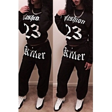 Casual O Neck Half Sleeves Letter Print Black Cotton Blend Two-piece Pants Set