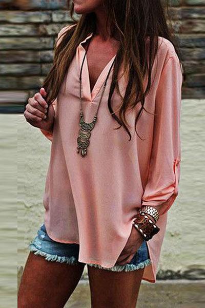 Stylish V Neck Long Sleeves Asymmetrical Pink Polyester Blousing Blouse