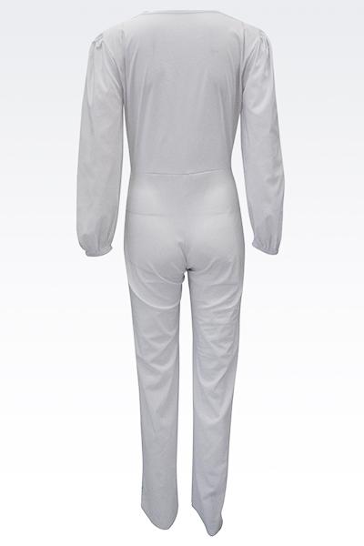 Euramerican V Neck Half Sleeves White Spandex One-piece Jumpsuits