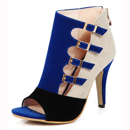 Bombas Bloco elegante abertos dedos Buckle cor Patchwork Stiletto Super High Heel azul PU Básico