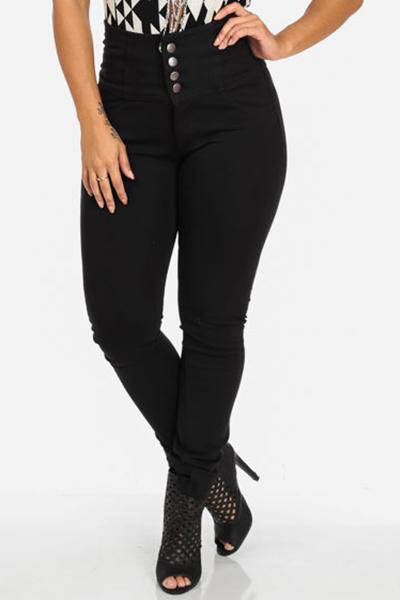 Stylish High  Waist Button Fly Black Denim Skinny Jeans