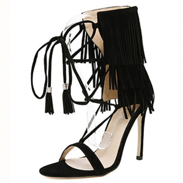 Stylish Open-toe Lace-up Hollow-out Tassel Design Stiletto Super High Heel Black PU Ankle Strap Sandals
