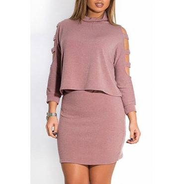 Stylish O Neck Long Sleeves Shoulder Hollow-out Purple Cotton Blend Two-piece Skirt Set