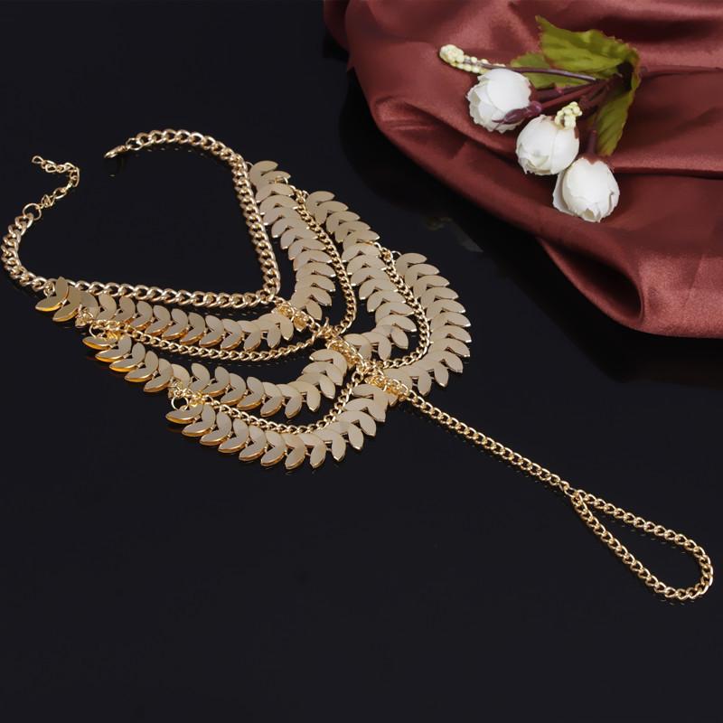 Fashion Tassel Design Multilayer Gold Metal Body Chain