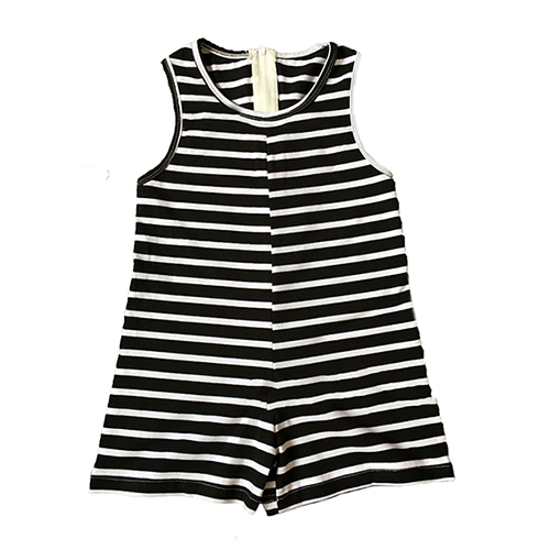 Casual O Neck Tank Sleeveless Black Striped Cotton Blend One-piece Jumpsuits  (Only Adult's)