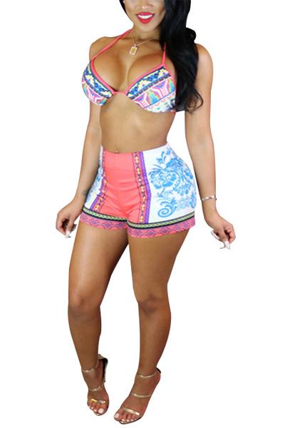 Sexy Halter Neck Lace-up High Waist Pink Two-piece Swimwear