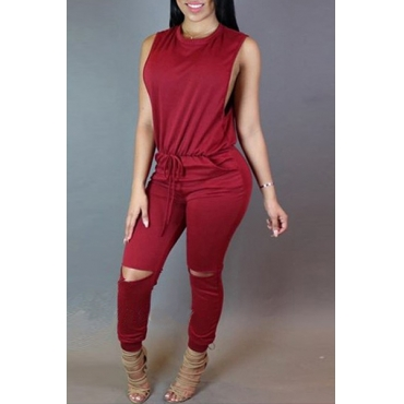 Stylish Round Neck Sleeveless Broken Holes Zipper Design Red Polyester One-piece Jumpsuits