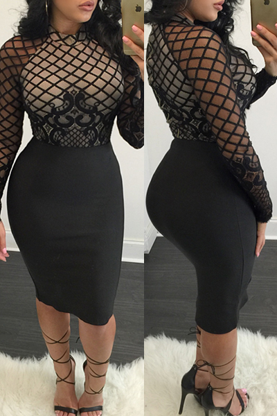 Trendy O Neck Long Sleeves Mesh Patchwork Black Polyester Sheath Knee Length Dress