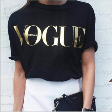 Casual Round Neck Short Sleeves Letters Printed Black Cotton Blends T-shirt