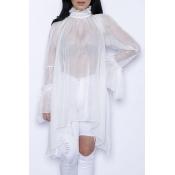 Stylish Turtleneck Long Sleeves Lace Patchwork Asymmetrical White Mini Dress