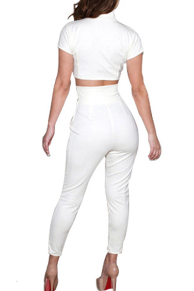 Charismatic Round Neck Short Sleeves V-shaped Hollow-out White Polyester Two-piece Pants Set