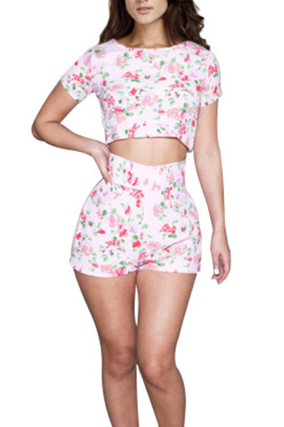 Stylish Round Neck Short Sleeves Floral Printed High Waist Polyester Two-piece Shorts Set