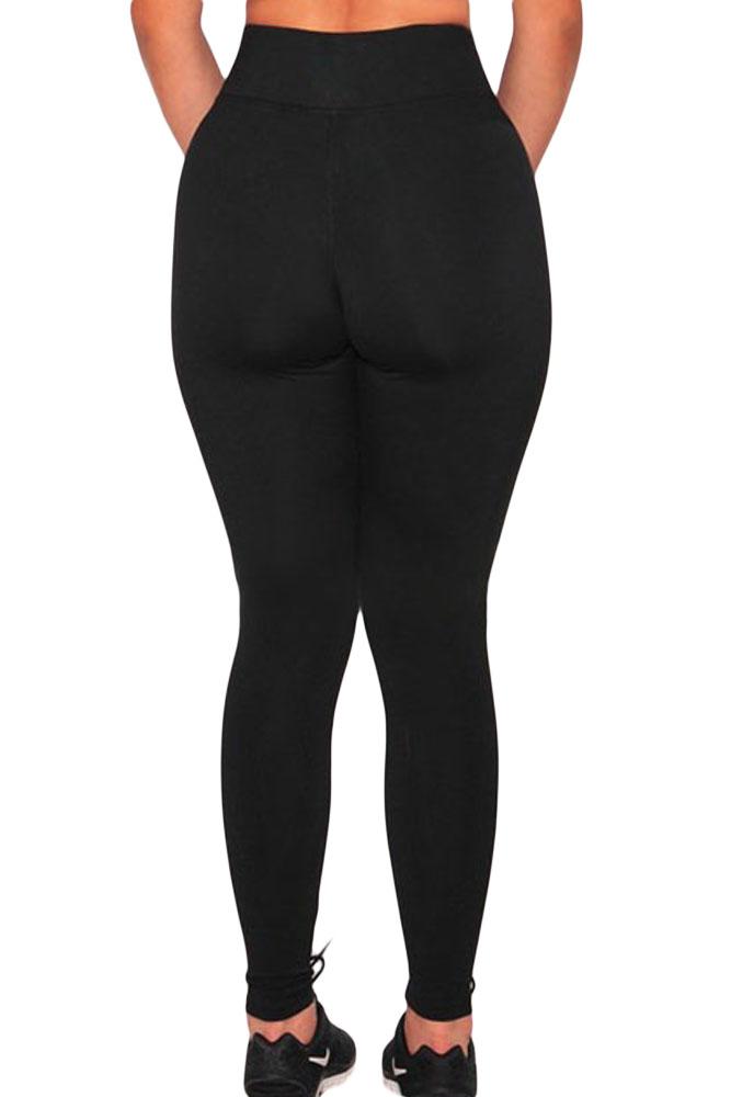Carismático mediados de cintura de malla de remiendo polainas negro polainas