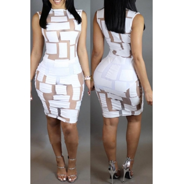 Sexy Round Neck Sleeveless Mesh Splicing White Polyester Sheath Dress (Only The Dresses)