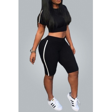 Black Polyester Shorts Solid O neck Short Sleeve Sexy Two-piece Outfits
