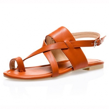 Leisure Open Toe Hollow-out Flat Low Heel Light Brown PU Gladiator Sandals