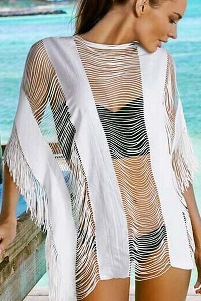 Модные круглым вырезом Половина рукава полым из кисточкой дизайн Белый бленды хлопка Сокрытия