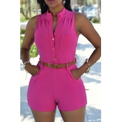 Trendy Round Neck Sleeveless Button Design Red Polyester One-piece Jumpsuits (With Belt)