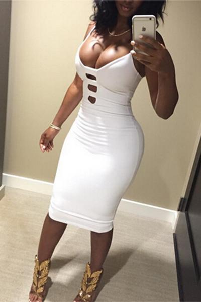 Sexy V Neck Spaghetti Strap mangas de algodão branco bainha joelho comprimento vestido de mulher