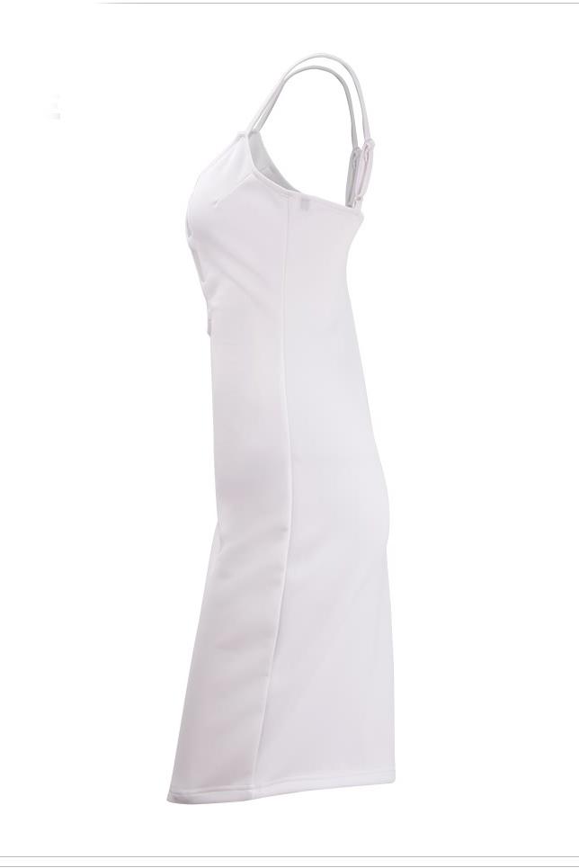 Sexy V Neck Spaghetti Strap Sans manches en coton blanc Gaine Longueur au genou Robe Femme