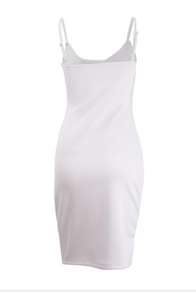 Sexy V-Ausschnitt Spaghetti Strap Ärmelloses weißes Baumwoll-Mantel Knielänge Frauen Kleid