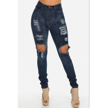 Trendy High Waist  Knee Broken Holes Blue Denim Skinny Jeans