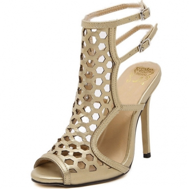 Модные Открытым Носком Полый-из стилет супер высокий каблук золото PU сандалии