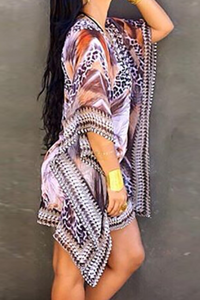 Trendy V Neck Half Sleeves Printed Asymmetrical Purple Chiffon Mini Dress