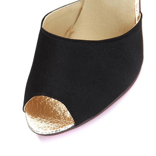 Trendy Round Peep Toe Bloque de color Patchwork Stiletto Super Alto Talón Negro PU Bombas