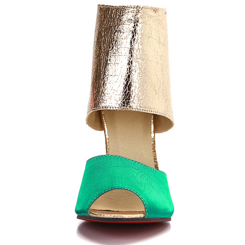 Trendy Round Peep Toe Color Bloque Patchwork Estilete Super Alto Talón Verde PU Bombas