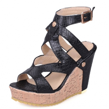 PU Wedge Super High Fashion Sandálias de tornozelo Sandálias