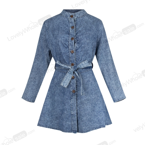 Women Sexy Long Sleeve Bodycon Club Denim Jean Mini-robe