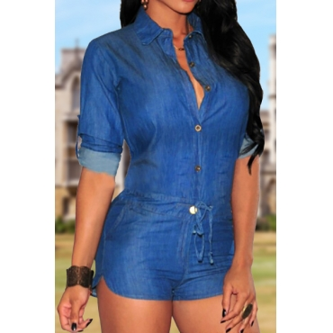 Stylish Turndown Collar Long Sleeves Single Breasted Blue Cotton One-piece Jumpsuit