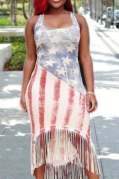 Euramerican U Collo Bandiera nazionale Stampato Qmilch guaina Mid Dress Vitello