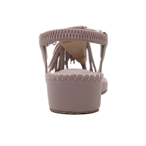 Elegante abierto toe borla diseño plano tacón bajo rosa PU sandalias