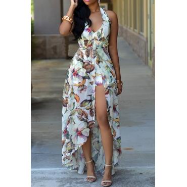 Vestido de encaje con cuello en V sin espalda con estampado floral