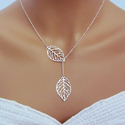 Contracted Style Leaf Decorative Hollow-out Silver Metal Necklace