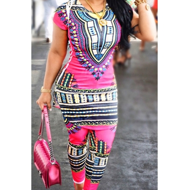 Ethnic Style Round Neck Short Sleeves Totem Printed Nylon Two-piece Pants Set