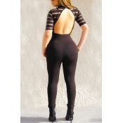 Sexy Round Neck Short Sleeves Backless Black Qmilch One-piece Skinny Jumpsuits