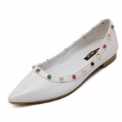 Stylish Pointed Closed Toe Rivet Decorative Low He
