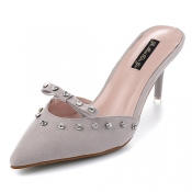 Stylish Pointed Closed Toe Rivet Decorative Hollow