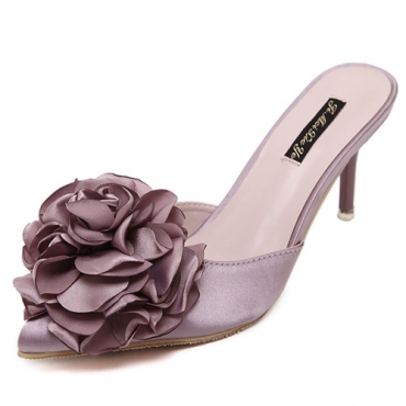 Fashion Pointed Closed Toe Flower Decorative High Heel Pink PU Slippers