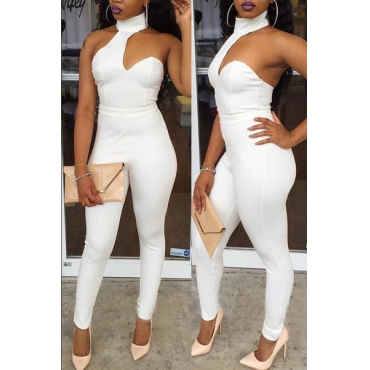 Sexy Round Neck Sleeveless Backless White Healthy Fabric One-piece Skinny Jumpsuits