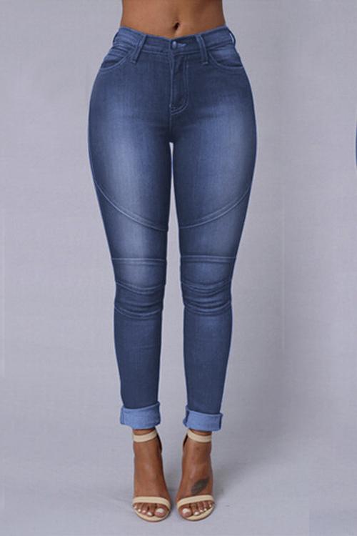 Euramerican High Waist Patchwork Dark Blue Denim Skinny Pants