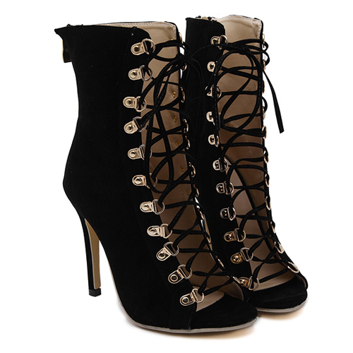 Trendy Round Peep Toe Cross Lace-up Hollow-out Stiletto Super High Heel Black PU Boots