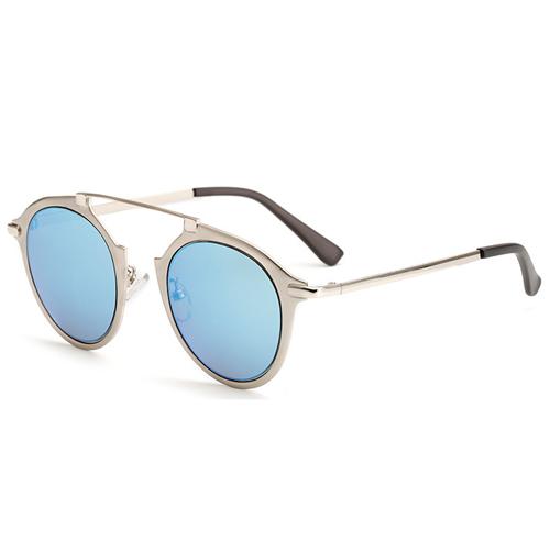 Euramerican Round-shaped Frame Design Blue PC Sunglasses