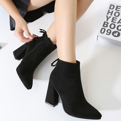 Stylish Pointed Closed Toe Zipper Design Chunky Super High Heel Black PU Ankle Martin Boots