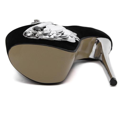 Fashion Round Closed Toe Swan Decorated Stiletto Super High Heel Black PU Basic Pumps