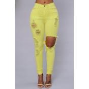 Trendy Mid Waist Broken Holes Yellow Blending Jeans