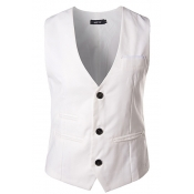 British Style V Neck Sleeveless Single-breasted Wh